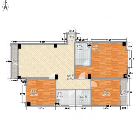 宝华花园3室1厅2卫1厨143.00㎡户型图