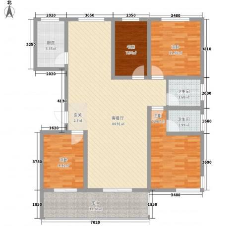 时代中通首府4室1厅2卫1厨156.00㎡户型图