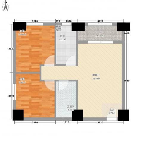 汇秀上筑华悦居2室1厅1卫1厨77.00㎡户型图
