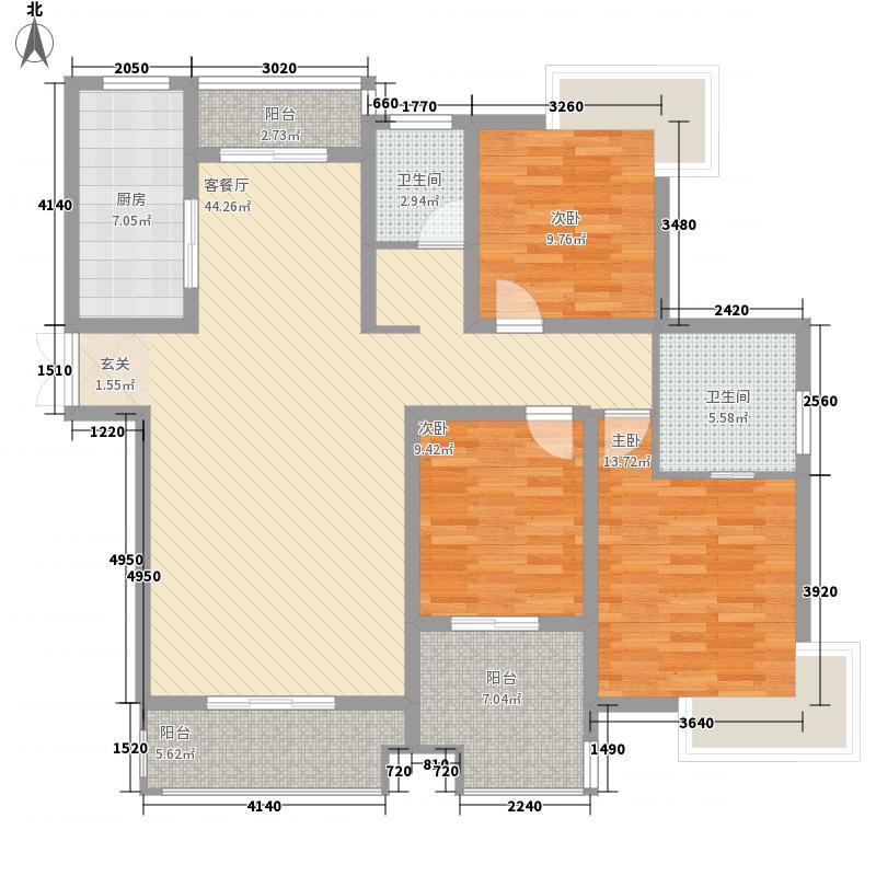 百隆山河馨城138.00㎡21#、22#、27#、28#楼E户型3室2厅2卫1厨