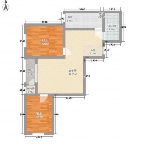 精英现代城2室1厅1卫1厨88.00㎡户型图
