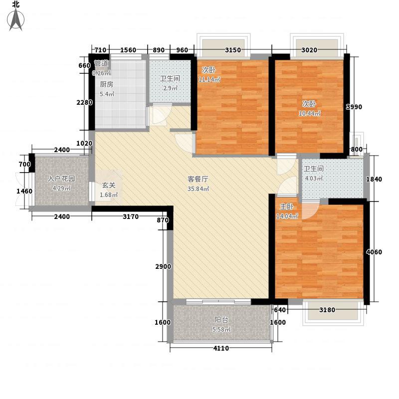 �房翰林珑城128.29㎡�房翰林珑城户型图2#楼B1户型3室2厅2卫1厨户型3室2厅2卫1厨
