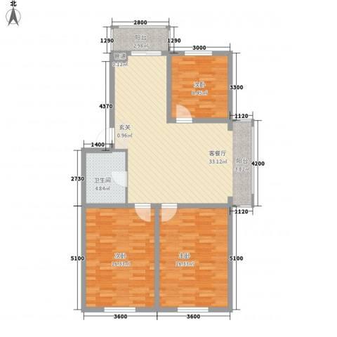 玉环花苑3室1厅1卫0厨97.00㎡户型图