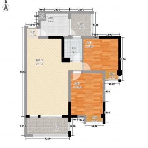 成都合院2室1厅1卫1厨86.00㎡户型图