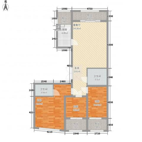 丽水阳光世纪城3室1厅2卫1厨147.00㎡户型图