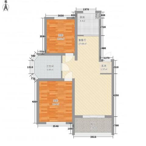 国际花都玫瑰苑2室1厅1卫1厨80.00㎡户型图