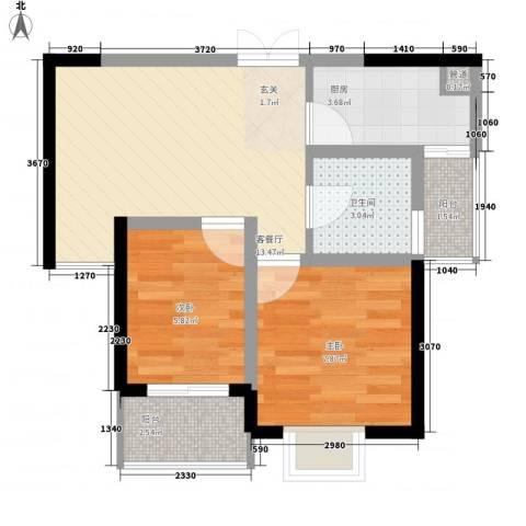 康馨家园2室1厅1卫1厨56.00㎡户型图