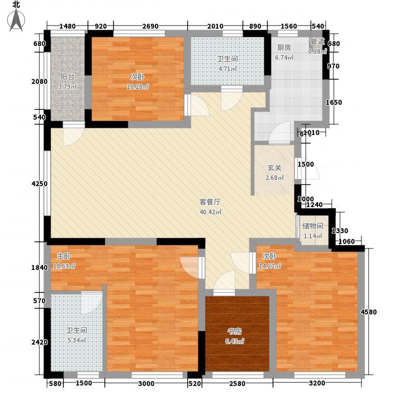 中央花园晴翠湾141.00㎡南湖中央花园晴翠湾4室户型4室