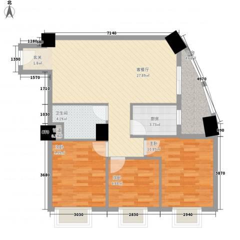 汇秀上筑华悦居3室1厅1卫1厨99.00㎡户型图