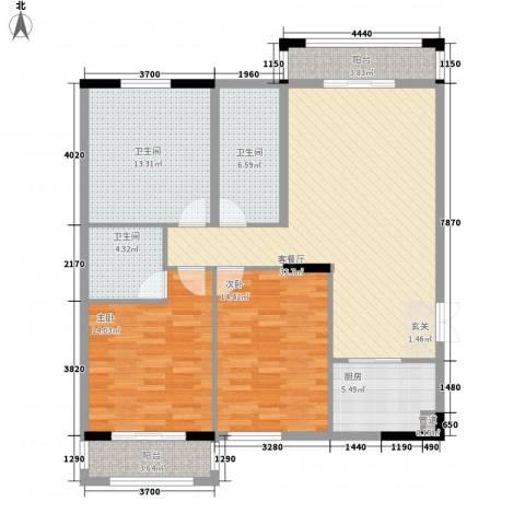 银城东方2室1厅3卫1厨139.00㎡户型图
