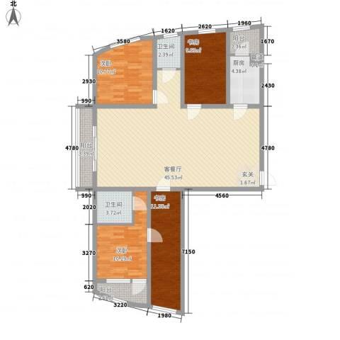 丽水阳光世纪城4室1厅2卫1厨154.00㎡户型图