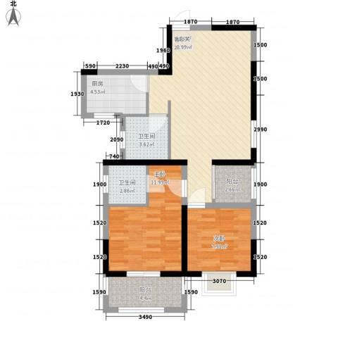 凡尔赛公馆2室1厅2卫1厨90.00㎡户型图