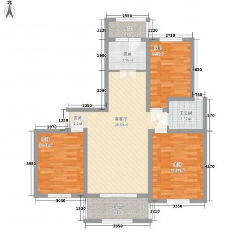 国际花都玫瑰苑3室1厅1卫1厨107.00㎡户型图