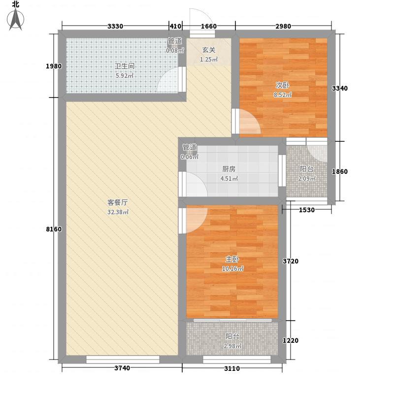 万顺城6.70㎡高层2、5号楼H户型2室2厅1卫1厨