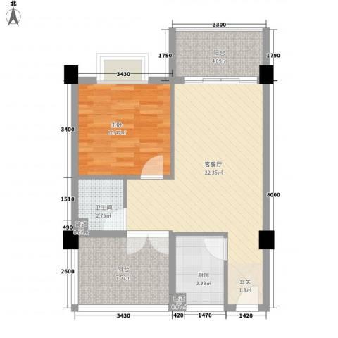 海南省三亚六建单位1室1厅1卫1厨75.00㎡户型图