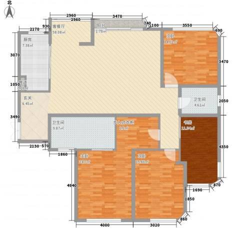老虎城4室1厅2卫1厨205.00㎡户型图