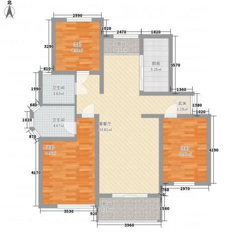 国际花都玫瑰苑3室1厅2卫1厨115.00㎡户型图