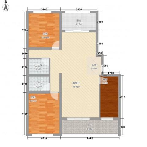时代中通首府3室1厅2卫1厨135.00㎡户型图