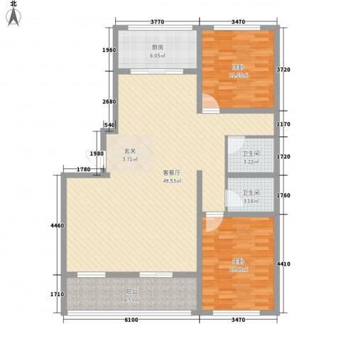 时代中通首府2室1厅2卫1厨135.00㎡户型图