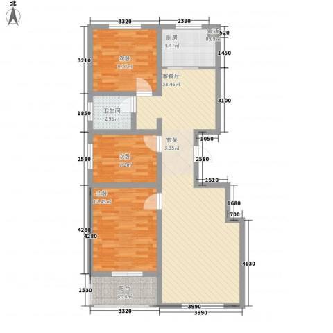 时代中通首府3室1厅1卫1厨74.03㎡户型图