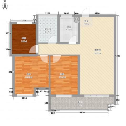 联合世纪新筑玫瑰园3室1厅1卫1厨112.00㎡户型图