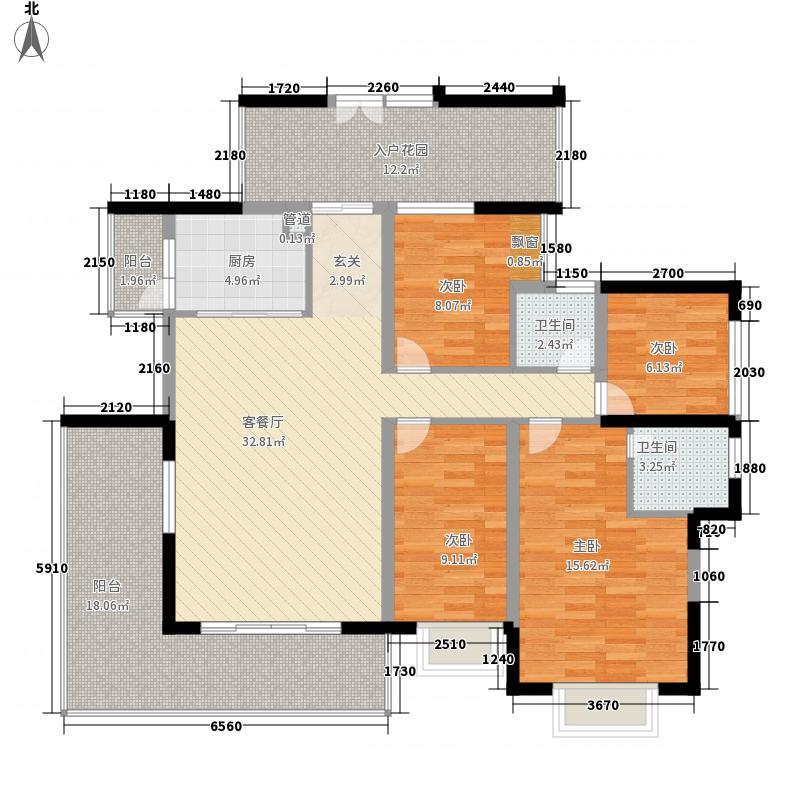 奥林华府163.00㎡奥林华府户型图5栋2、3单元03偶数层4室2厅2卫1厨户型4室2厅2卫1厨