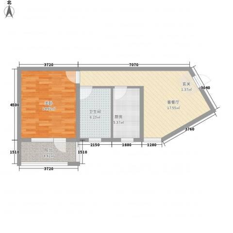 真情公寓三期1室1厅1卫1厨70.00㎡户型图