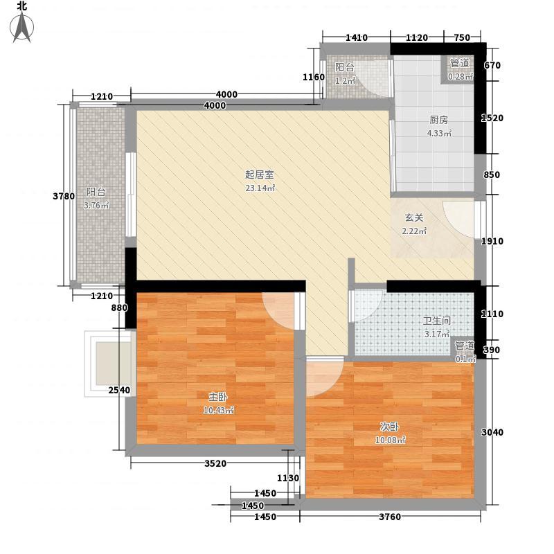 西城时代2室0厅1卫1厨82.00㎡户型图