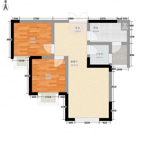 申联大厦2室1厅1卫1厨57.93㎡户型图