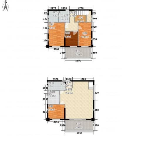 融景居(科技大厦)4室1厅3卫1厨160.71㎡户型图