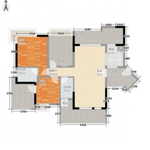 招商金山谷2室1厅2卫1厨115.00㎡户型图