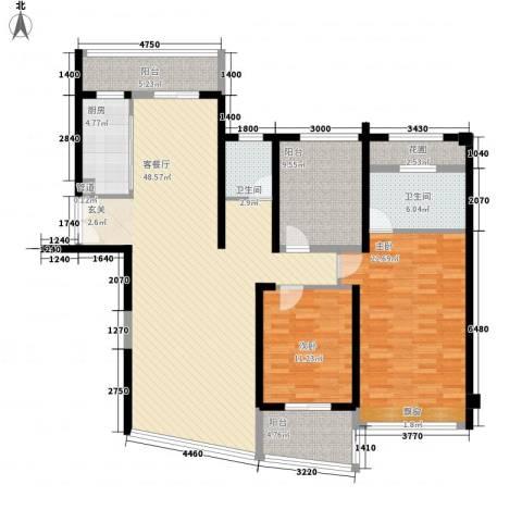 新华大厦2室1厅2卫1厨168.00㎡户型图