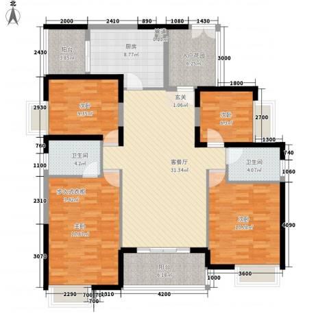 世纪城幸福公馆4室1厅2卫1厨159.00㎡户型图