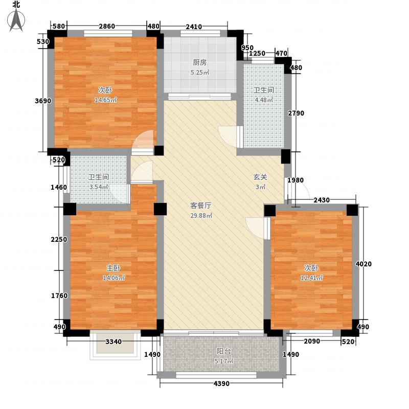 中央美地128.65㎡2号楼F户型3室2厅1卫1厨