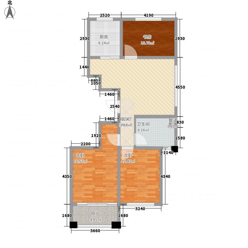 大五里百汇城3室1厅1卫1厨117.00㎡户型图