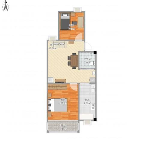 天悦花园2室1厅1卫1厨65.00㎡户型图