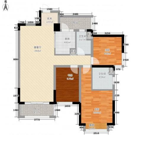 龙湖时代天街3室1厅2卫1厨114.00㎡户型图
