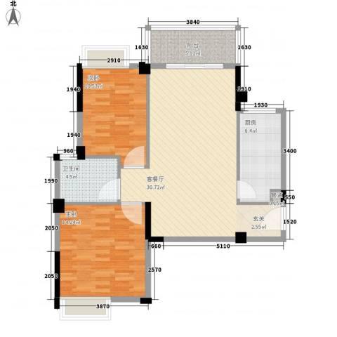 华京花园2室1厅1卫1厨99.00㎡户型图
