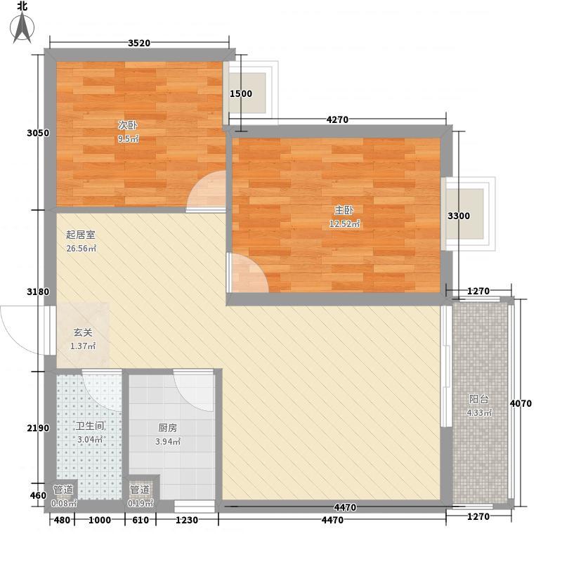 西城时代2室0厅1卫1厨84.00㎡户型图