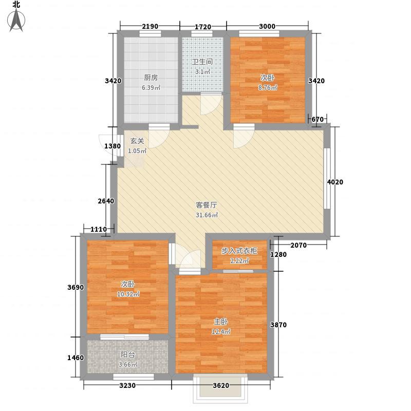 东方雅苑3室1厅1卫1厨114.00㎡户型图