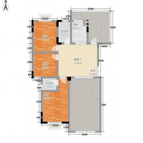 锦绣星城嘉苑3室1厅2卫1厨126.00㎡户型图