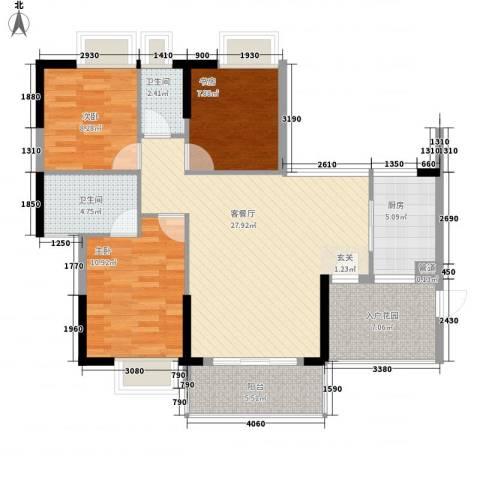 金海怡景花园3室1厅2卫1厨90.29㎡户型图