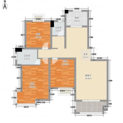 久和国际新城3室1厅2卫1厨122.00㎡户型图