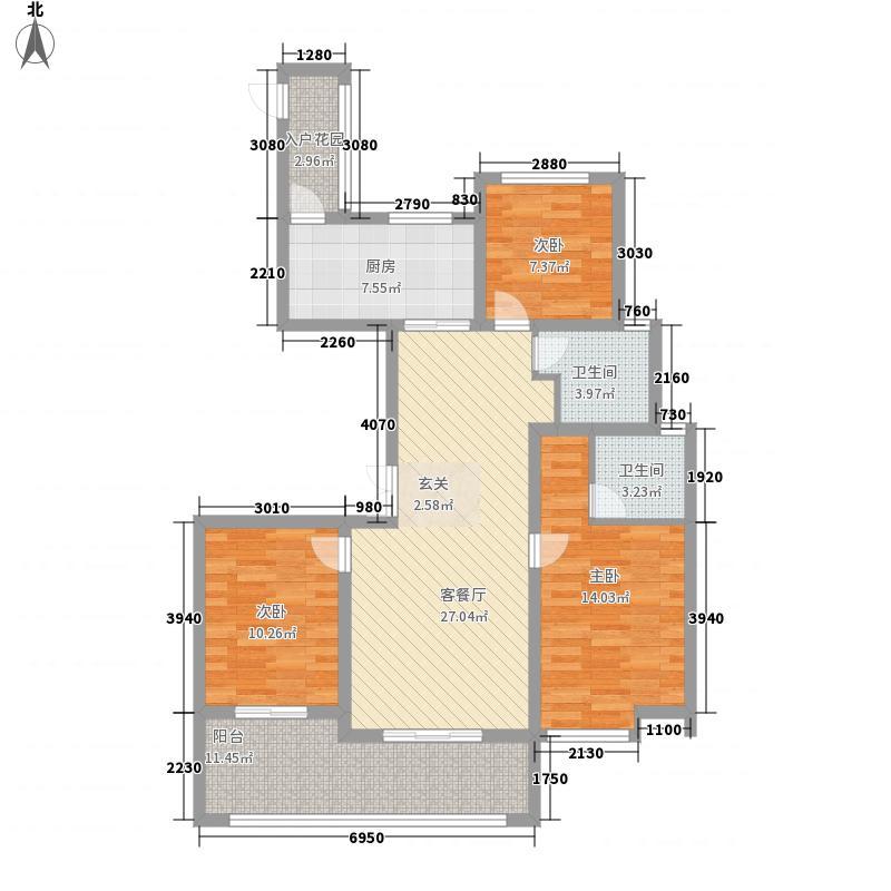 银城聚泽园128.00㎡一期03栋标准层中间户c2户型3室2厅2卫1厨