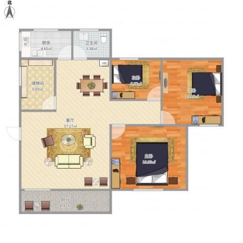 宝兴花园3室1厅1卫1厨125.00㎡户型图