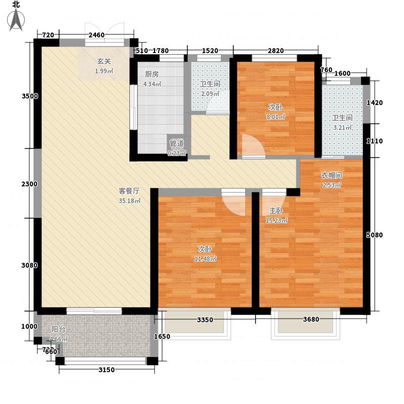 锦艺金水湾3室1厅2卫1厨122.00㎡户型图