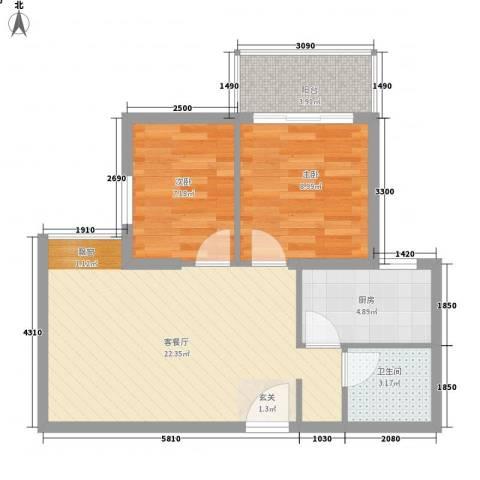 羽源欣居2室1厅1卫1厨64.00㎡户型图
