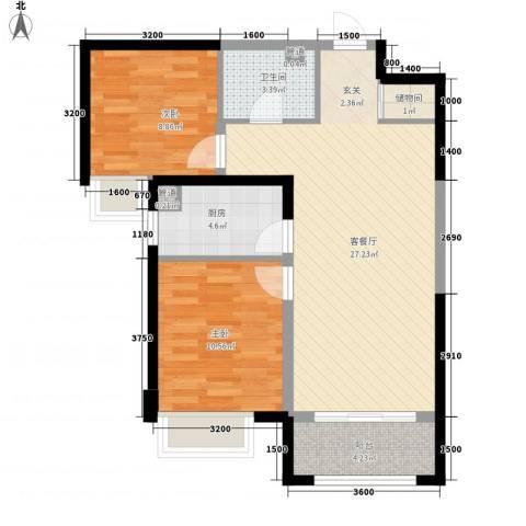 保利花园2室1厅1卫1厨87.00㎡户型图