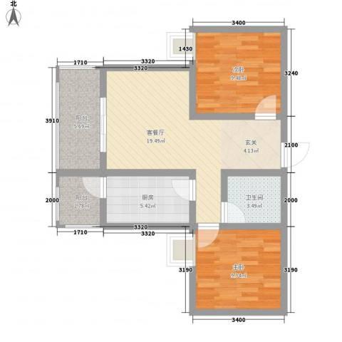 金湖里2室1厅1卫1厨82.00㎡户型图