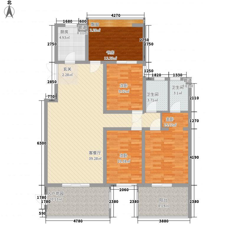 上东国际公馆14.21㎡一期3B户型4室2厅2卫